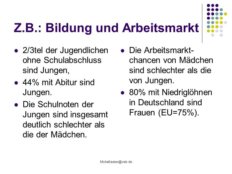 MichaKasten@web.de Z.B.: Bildung und Arbeitsmarkt 2/3tel der Jugendlichen ohne Schulabschluss sind Jungen, 44% mit Abitur sind Jungen. Die Schulnoten