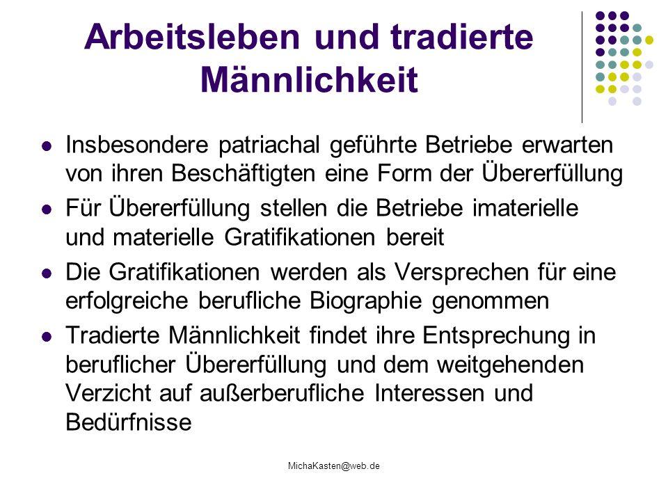 MichaKasten@web.de Arbeitsleben und tradierte Männlichkeit Insbesondere patriachal geführte Betriebe erwarten von ihren Beschäftigten eine Form der Üb