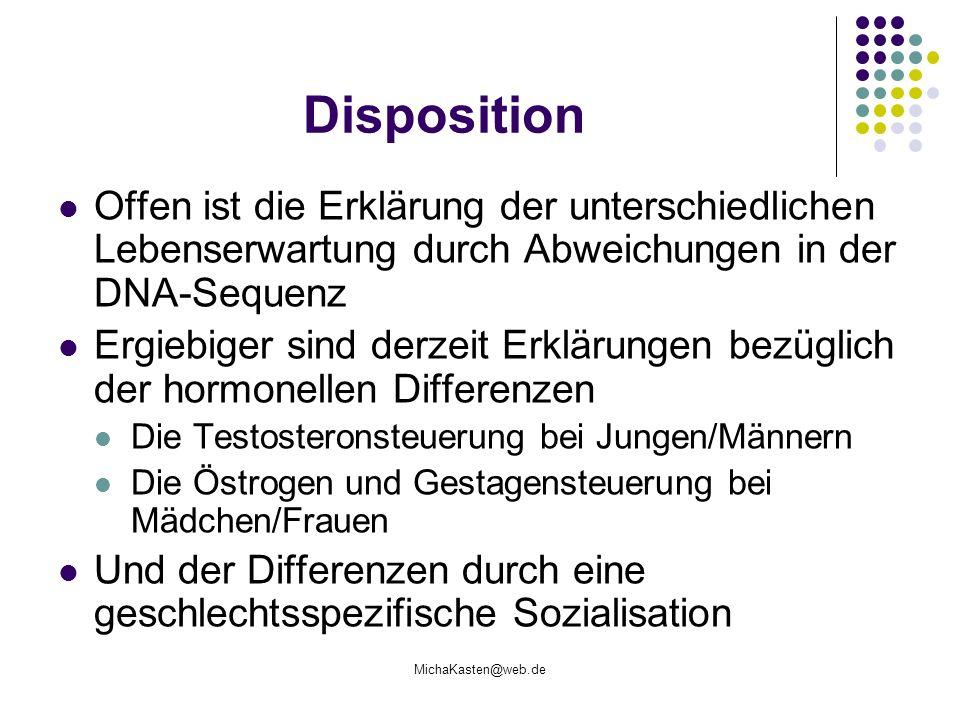 MichaKasten@web.de Disposition Offen ist die Erklärung der unterschiedlichen Lebenserwartung durch Abweichungen in der DNA-Sequenz Ergiebiger sind der