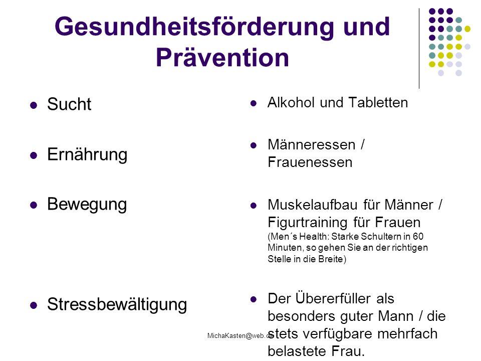 MichaKasten@web.de Gesundheitsförderung und Prävention Sucht Ernährung Bewegung Stressbewältigung Alkohol und Tabletten Männeressen / Frauenessen Musk