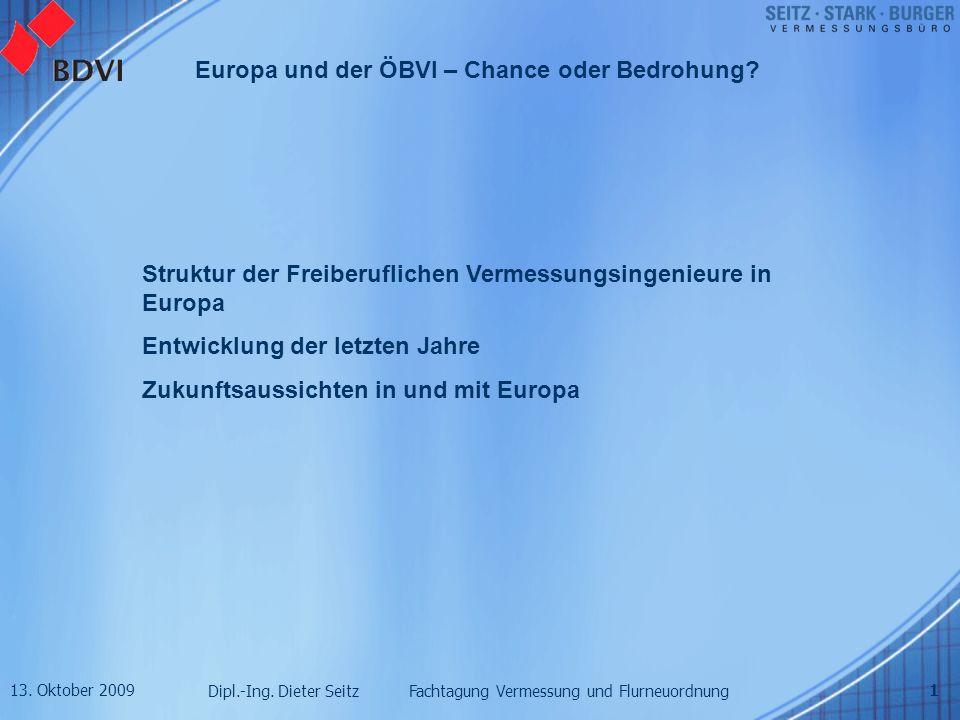 13. Oktober 2009 Dipl.-Ing. Dieter Seitz Fachtagung Vermessung und Flurneuordnung Europa und der ÖBVI – Chance oder Bedrohung? 1 Struktur der Freiberu