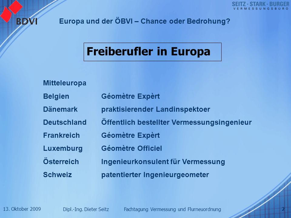 13. Oktober 2009 Dipl.-Ing. Dieter Seitz Fachtagung Vermessung und Flurneuordnung Europa und der ÖBVI – Chance oder Bedrohung? 2 Freiberufler in Europ