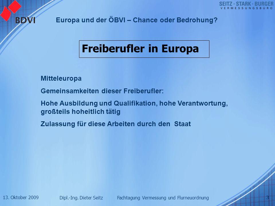 13. Oktober 2009 Dipl.-Ing. Dieter Seitz Fachtagung Vermessung und Flurneuordnung Europa und der ÖBVI – Chance oder Bedrohung? 3 Freiberufler in Europ