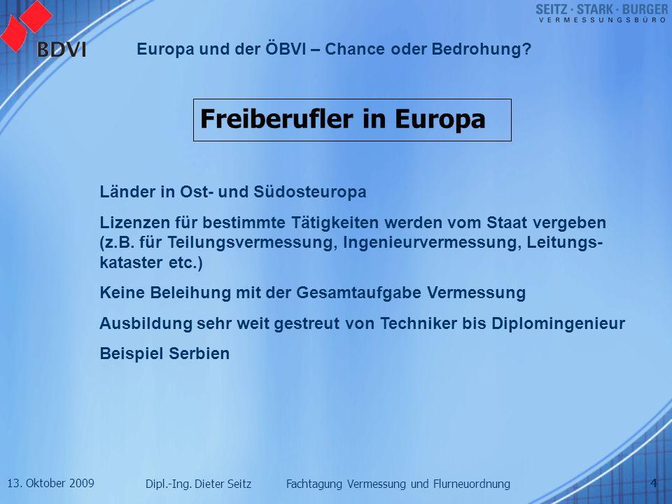 13. Oktober 2009 Dipl.-Ing. Dieter Seitz Fachtagung Vermessung und Flurneuordnung Europa und der ÖBVI – Chance oder Bedrohung? 4 Freiberufler in Europ