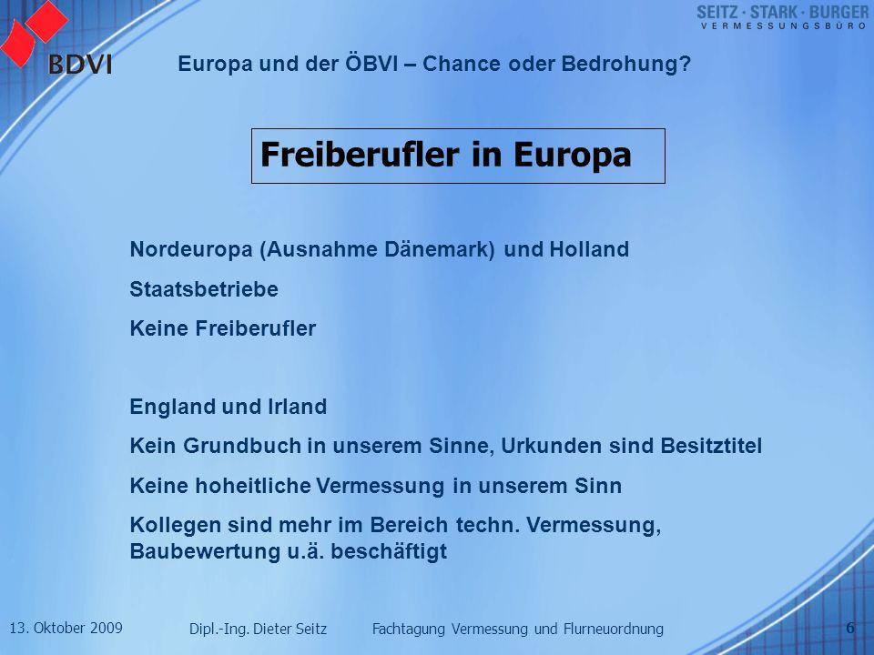 13. Oktober 2009 Dipl.-Ing. Dieter Seitz Fachtagung Vermessung und Flurneuordnung Europa und der ÖBVI – Chance oder Bedrohung? 6 Freiberufler in Europ