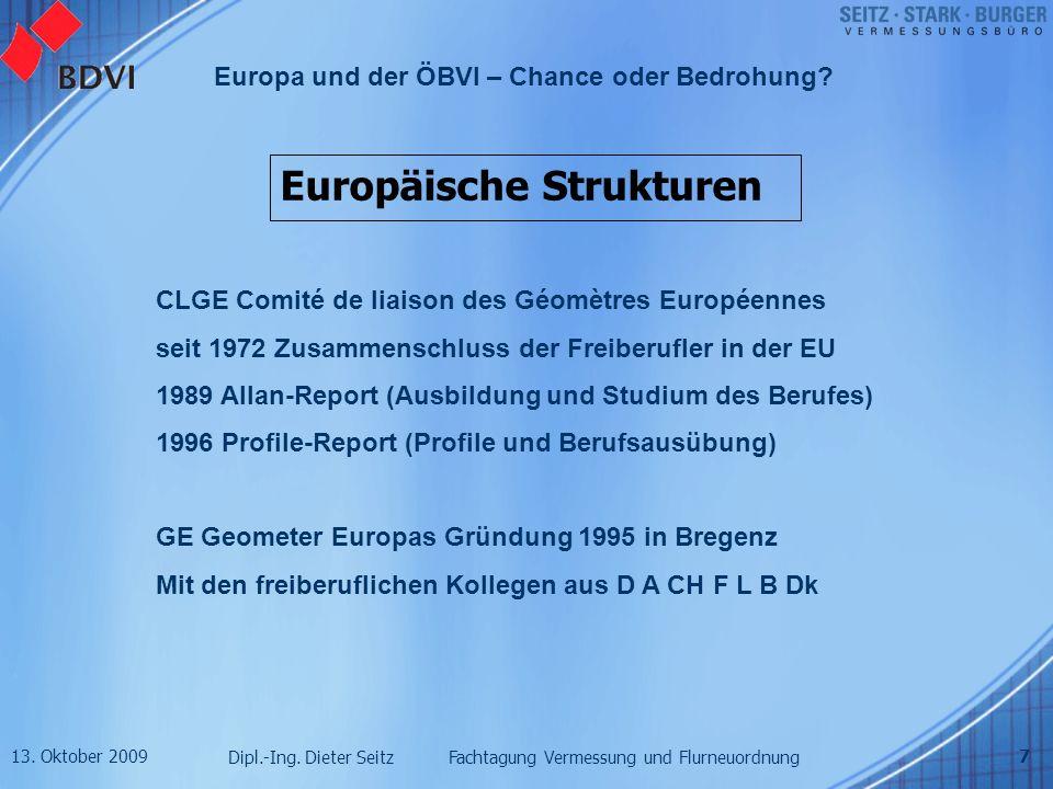 13. Oktober 2009 Dipl.-Ing. Dieter Seitz Fachtagung Vermessung und Flurneuordnung Europa und der ÖBVI – Chance oder Bedrohung? 7 Europäische Strukture