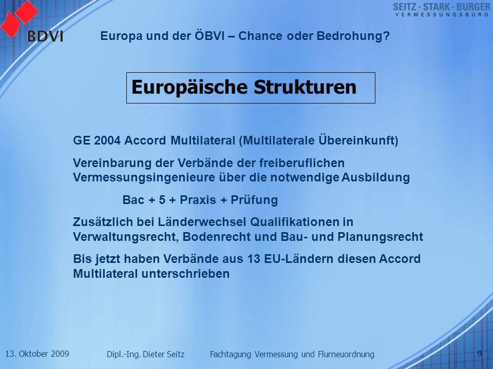 13. Oktober 2009 Dipl.-Ing. Dieter Seitz Fachtagung Vermessung und Flurneuordnung Europa und der ÖBVI – Chance oder Bedrohung? 9 Europäische Strukture