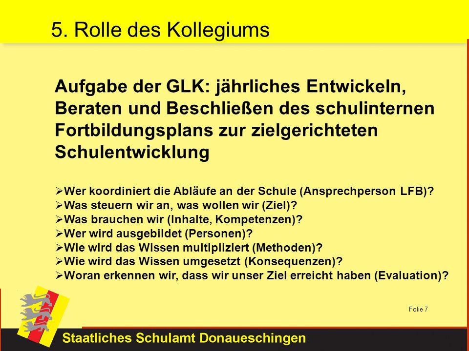 Folie 7 Aufgabe der GLK: jährliches Entwickeln, Beraten und Beschließen des schulinternen Fortbildungsplans zur zielgerichteten Schulentwicklung Wer k