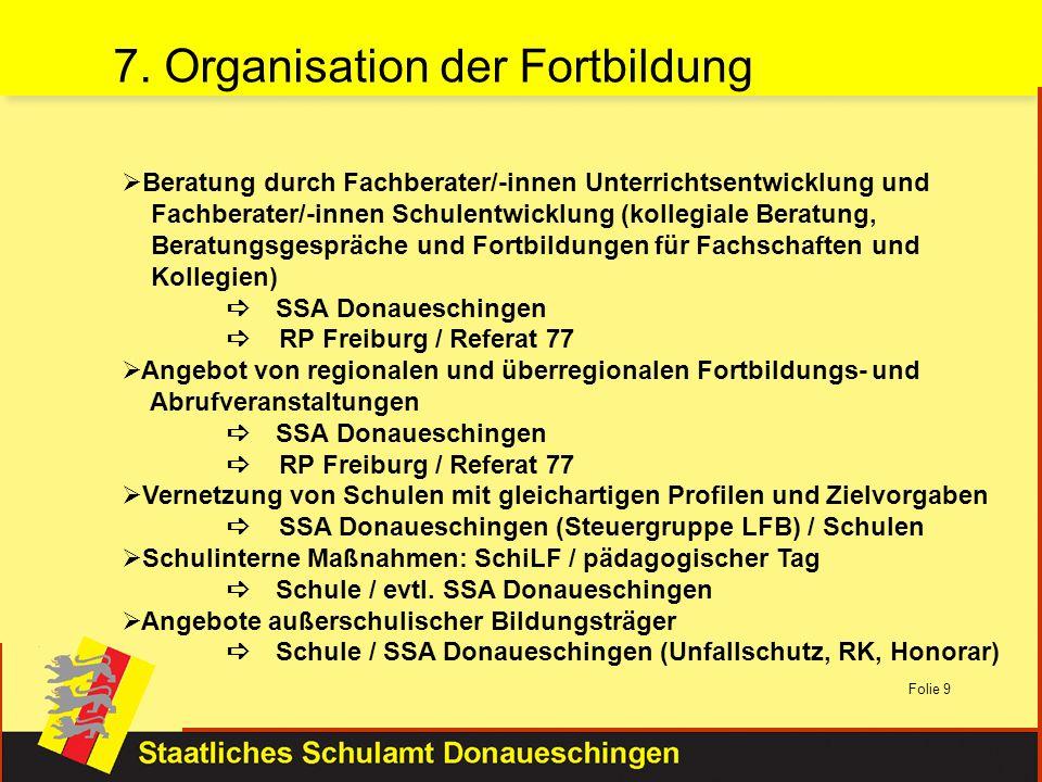 Folie 9 Beratung durch Fachberater/-innen Unterrichtsentwicklung und Fachberater/-innen Schulentwicklung (kollegiale Beratung, Beratungsgespräche und