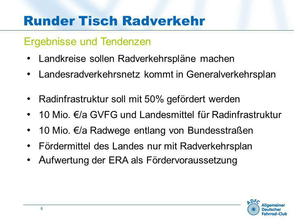 6 Runder Tisch Radverkehr Ergebnisse und Tendenzen Landkreise sollen Radverkehrspläne machen Radinfrastruktur soll mit 50% gefördert werden 10 Mio.