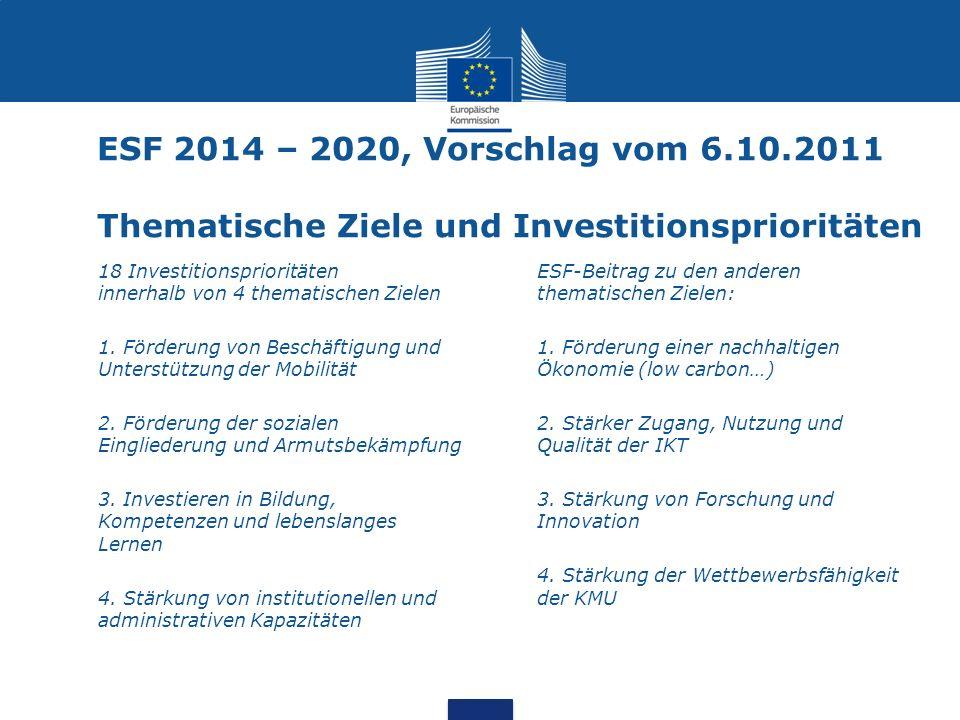 ESF 2014 – 2020, Vorschlag vom 6.10.2011 Thematische Ziele und Investitionsprioritäten 18 Investitionsprioritäten innerhalb von 4 thematischen Zielen