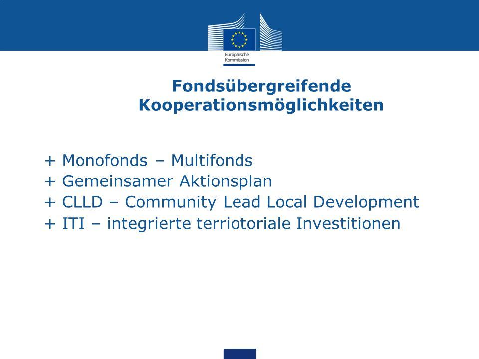 Fondsübergreifende Kooperationsmöglichkeiten + Monofonds – Multifonds + Gemeinsamer Aktionsplan + CLLD – Community Lead Local Development + ITI – inte