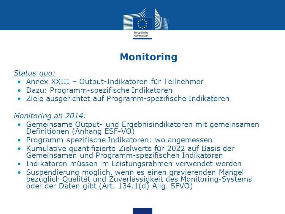 Monitoring Status quo: Annex XXIII – Output-Indikatoren für Teilnehmer Dazu: Programm-spezifische Indikatoren Ziele ausgerichtet auf Programm-spezifis