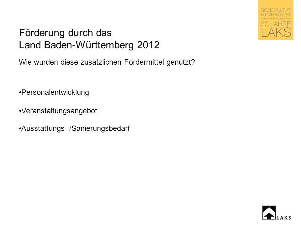 Förderung durch das Land Baden-Württemberg 2012 Wie wurden diese zusätzlichen Fördermittel genutzt.
