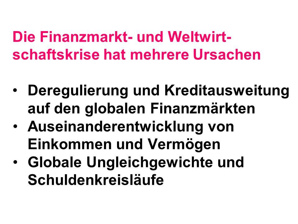 Die Finanzmarkt- und Weltwirt- schaftskrise hat mehrere Ursachen Deregulierung und Kreditausweitung auf den globalen Finanzmärkten Auseinanderentwicklung von Einkommen und Vermögen Globale Ungleichgewichte und Schuldenkreisläufe
