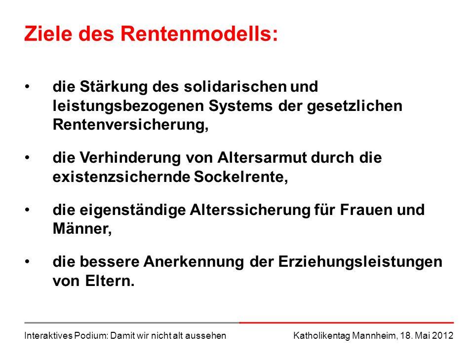 Interaktives Podium: Damit wir nicht alt aussehenKatholikentag Mannheim, 18. Mai 2012 Ziele des Rentenmodells: die Stärkung des solidarischen und leis