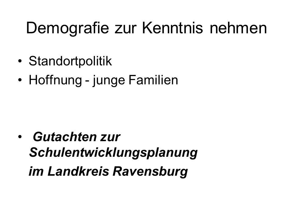 Demografie zur Kenntnis nehmen Standortpolitik Hoffnung - junge Familien Gutachten zur Schulentwicklungsplanung im Landkreis Ravensburg