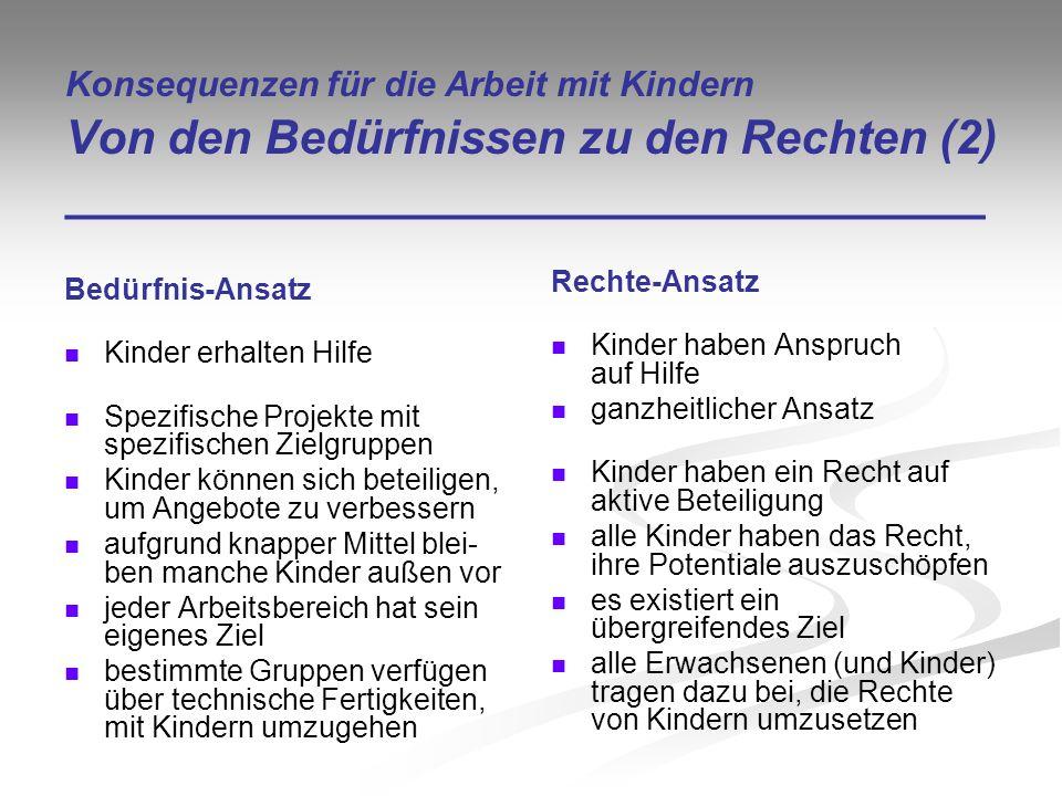 Konsequenzen für die Arbeit mit Kindern Von den Bedürfnissen zu den Rechten (2) ___________________________________ Bedürfnis-Ansatz Kinder erhalten H