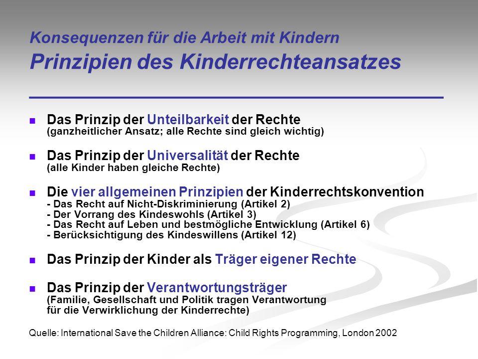 Konsequenzen für die Arbeit mit Kindern Prinzipien des Kinderrechteansatzes ___________________________________ Das Prinzip der Unteilbarkeit der Rech