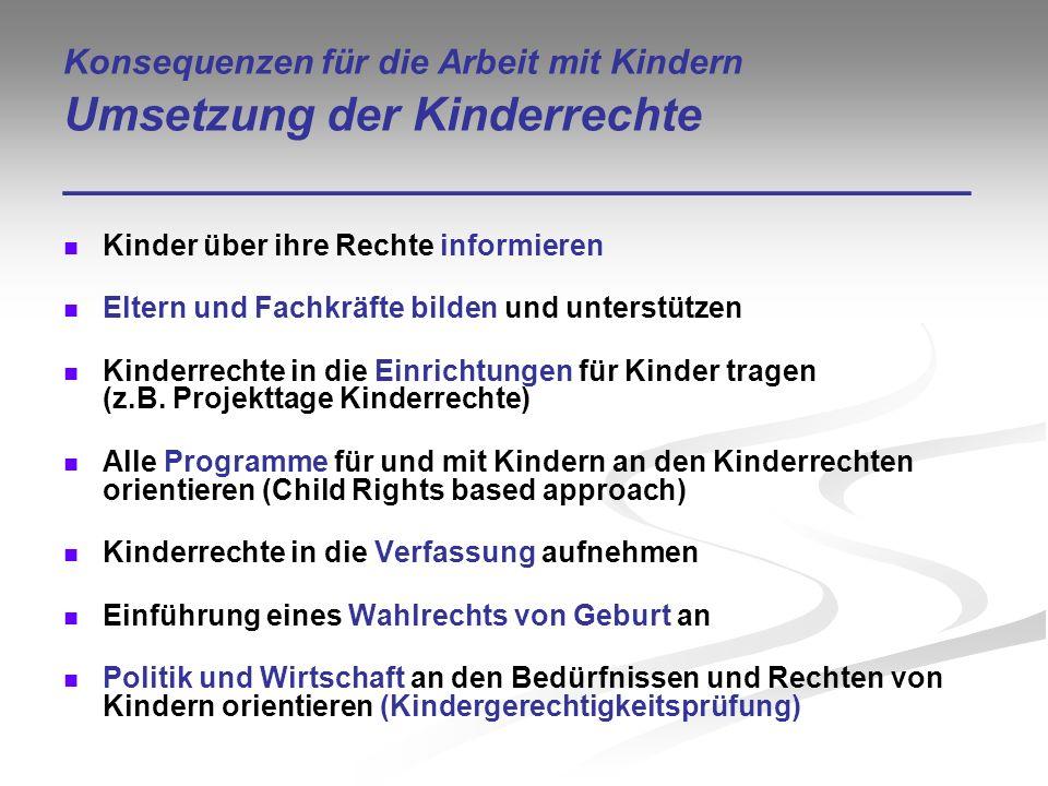 Konsequenzen für die Arbeit mit Kindern Umsetzung der Kinderrechte ___________________________________ Kinder über ihre Rechte informieren Eltern und