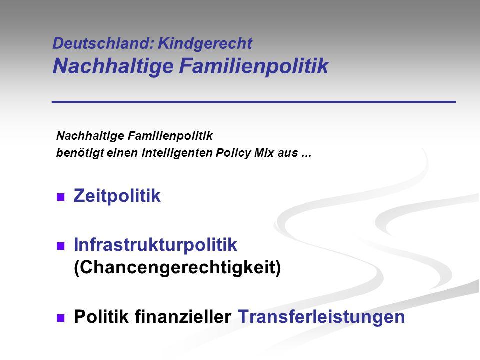 Deutschland: Kindgerecht Nachhaltige Familienpolitik __________________________________ Nachhaltige Familienpolitik benötigt einen intelligenten Polic