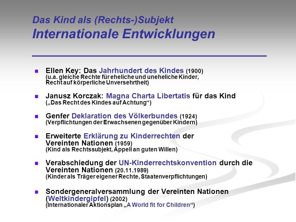 Das Kind als (Rechts-)Subjekt Internationale Entwicklungen ________________________________ Ellen Key: Das Jahrhundert des Kindes (1900) (u.a. gleiche