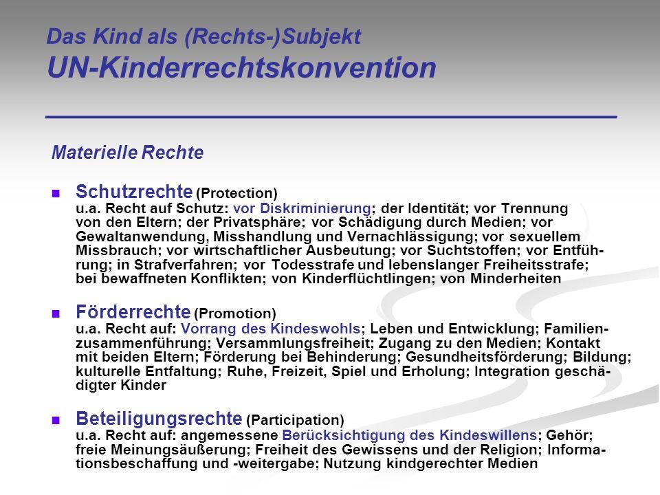 Das Kind als (Rechts-)Subjekt UN-Kinderrechtskonvention ___________________________________ Materielle Rechte Schutzrechte (Protection) u.a. Recht auf