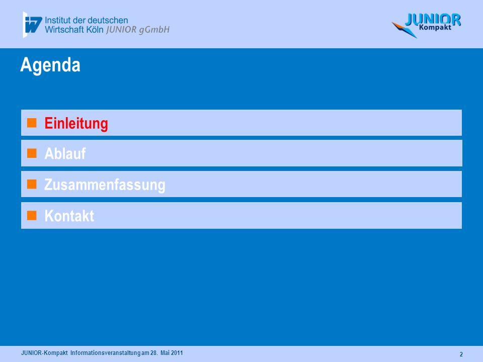 JUNIOR-Kompakt Informationsveranstaltung am 28. Mai 2011 2 Ablauf Agenda Kontakt Einleitung Zusammenfassung