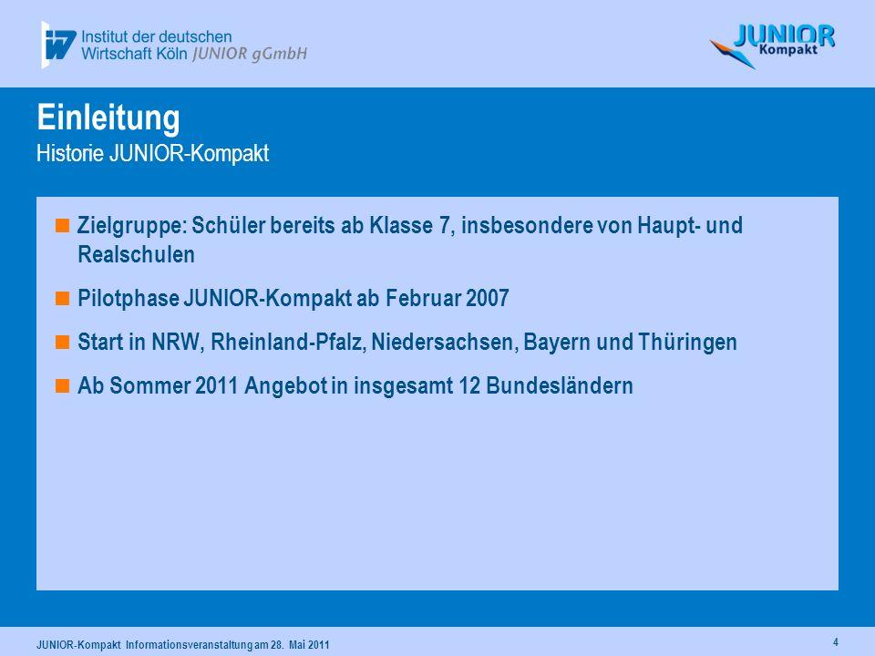 4 Einleitung Historie JUNIOR-Kompakt Zielgruppe: Schüler bereits ab Klasse 7, insbesondere von Haupt- und Realschulen Pilotphase JUNIOR-Kompakt ab Feb