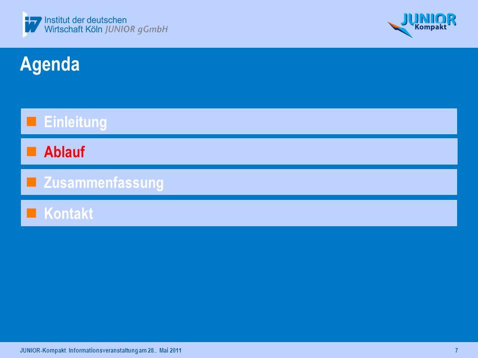 7 Ablauf Agenda Kontakt Einleitung Zusammenfassung JUNIOR-Kompakt Informationsveranstaltung am 28.. Mai 2011