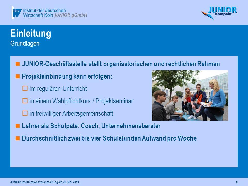 JUNIOR Informationsveranstaltung am 28. Mai 20118 Einleitung Grundlagen JUNIOR-Geschäftsstelle stellt organisatorischen und rechtlichen Rahmen Projekt