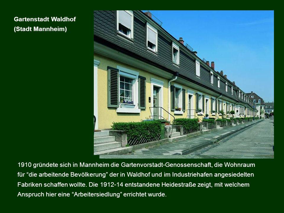 1910 gründete sich in Mannheim die Gartenvorstadt-Genossenschaft, die Wohnraum für die arbeitende Bevölkerung der in Waldhof und im Industriehafen ang