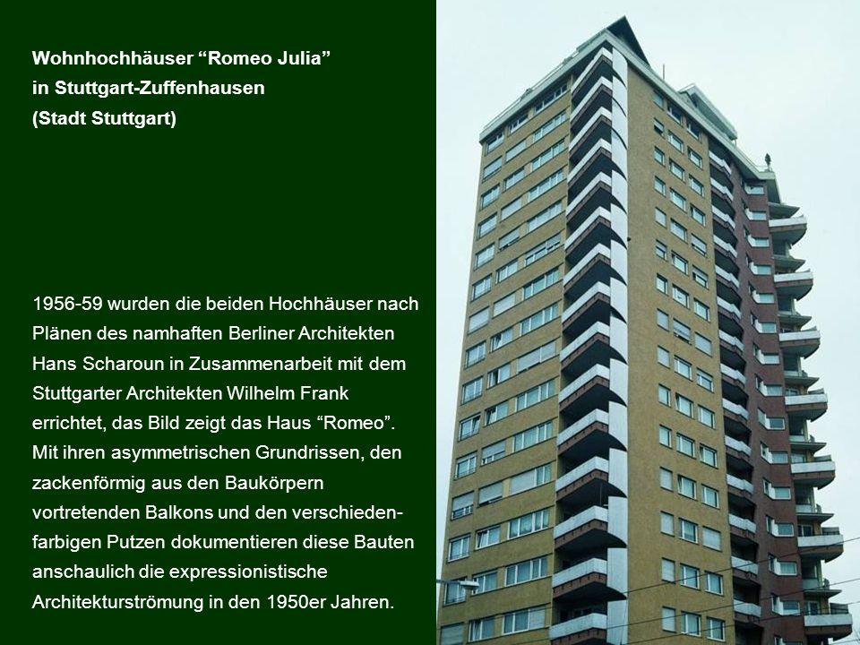 1956-59 wurden die beiden Hochhäuser nach Plänen des namhaften Berliner Architekten Hans Scharoun in Zusammenarbeit mit dem Stuttgarter Architekten Wi