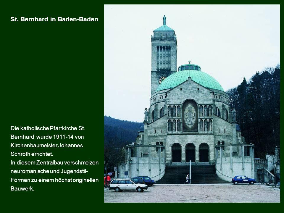 Die katholische Pfarrkirche St. Bernhard wurde 1911-14 von Kirchenbaumeister Johannes Schroth errichtet. In diesem Zentralbau verschmelzen neuromanisc