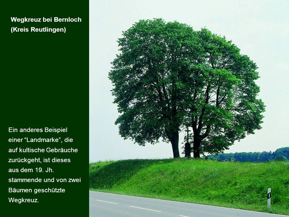 Ein anderes Beispiel einer Landmarke, die auf kultische Gebräuche zurückgeht, ist dieses aus dem 19. Jh. stammende und von zwei Bäumen geschützte Wegk