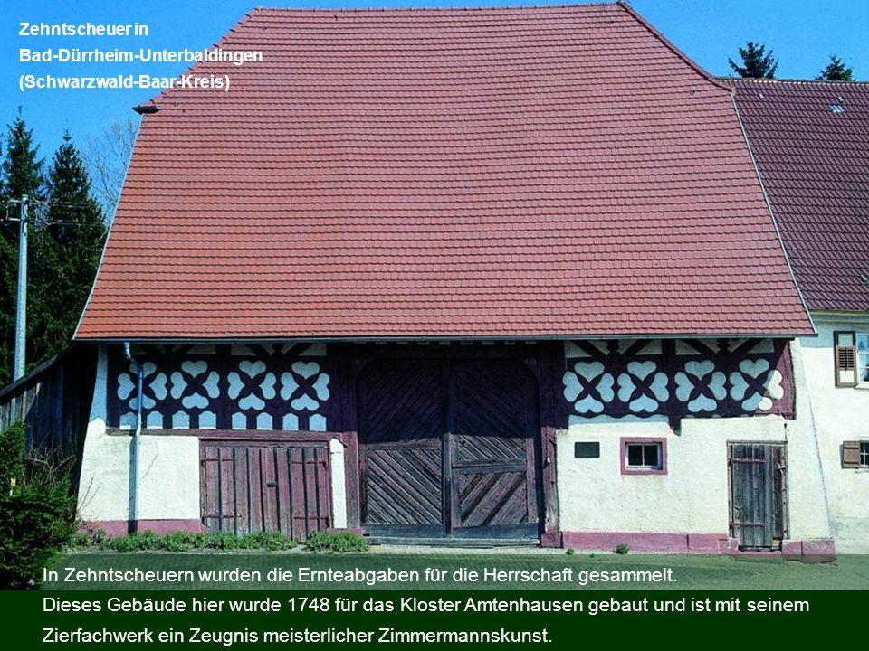 In Zehntscheuern wurden die Ernteabgaben für die Herrschaft gesammelt. Dieses Gebäude hier wurde 1748 für das Kloster Amtenhausen gebaut und ist mit s