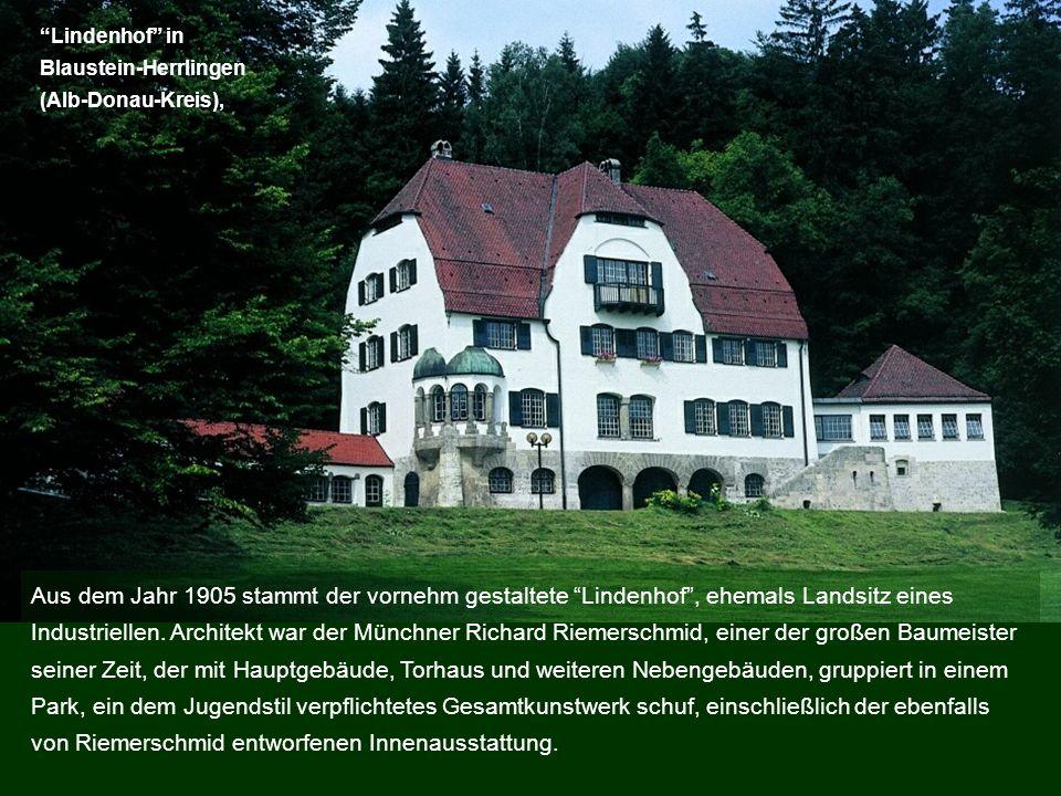 Lindenhof in Blaustein-Herrlingen (Alb-Donau-Kreis), Aus dem Jahr 1905 stammt der vornehm gestaltete Lindenhof, ehemals Landsitz eines Industriellen.