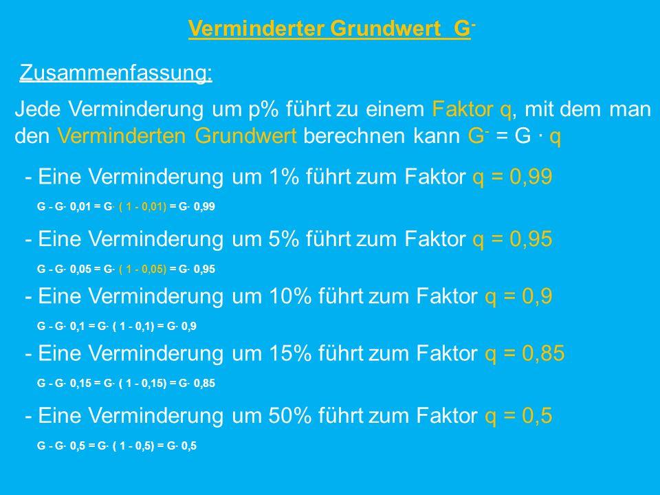 Zusammenfassung: - Eine Verminderung um 1% führt zum Faktor q = 0,99 G - G 0,01 = G ( 1 - 0,01) = G 0,99 Jede Verminderung um p% führt zu einem Faktor