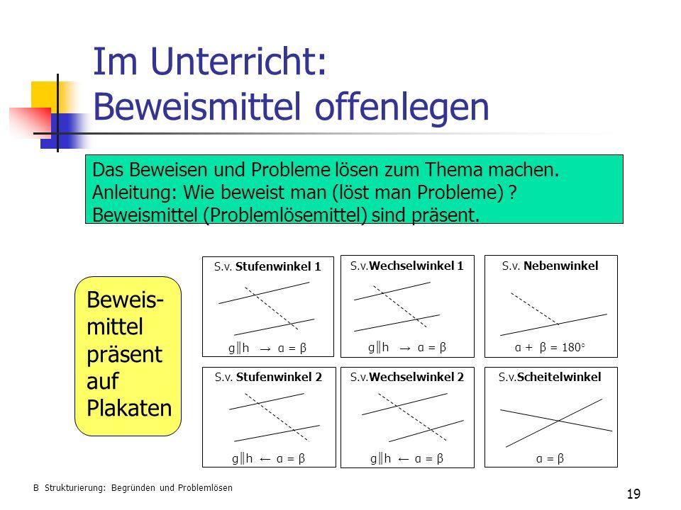 Im Unterricht: Beweismittel offenlegen 19 S.v. Stufenwinkel 1 g h α = β S.v.Wechselwinkel 2 g h α = β S.v.Wechselwinkel 1 g h α = β S.v.Scheitelwinkel