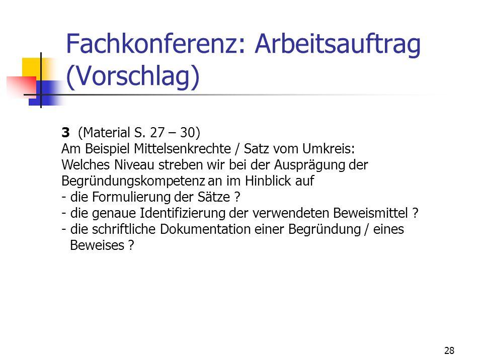 28 Fachkonferenz: Arbeitsauftrag (Vorschlag) 3 (Material S. 27 – 30) Am Beispiel Mittelsenkrechte / Satz vom Umkreis: Welches Niveau streben wir bei d