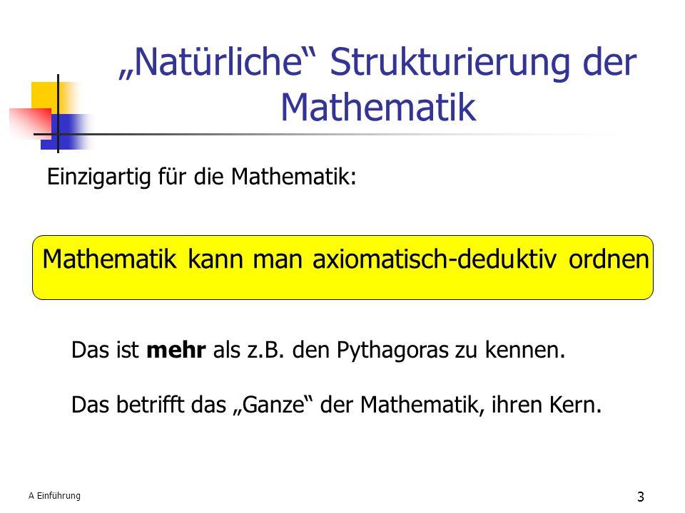 Natürliche Strukturierung der Mathematik Einzigartig für die Mathematik: Mathematik kann man axiomatisch-deduktiv ordnen Das ist mehr als z.B. den Pyt