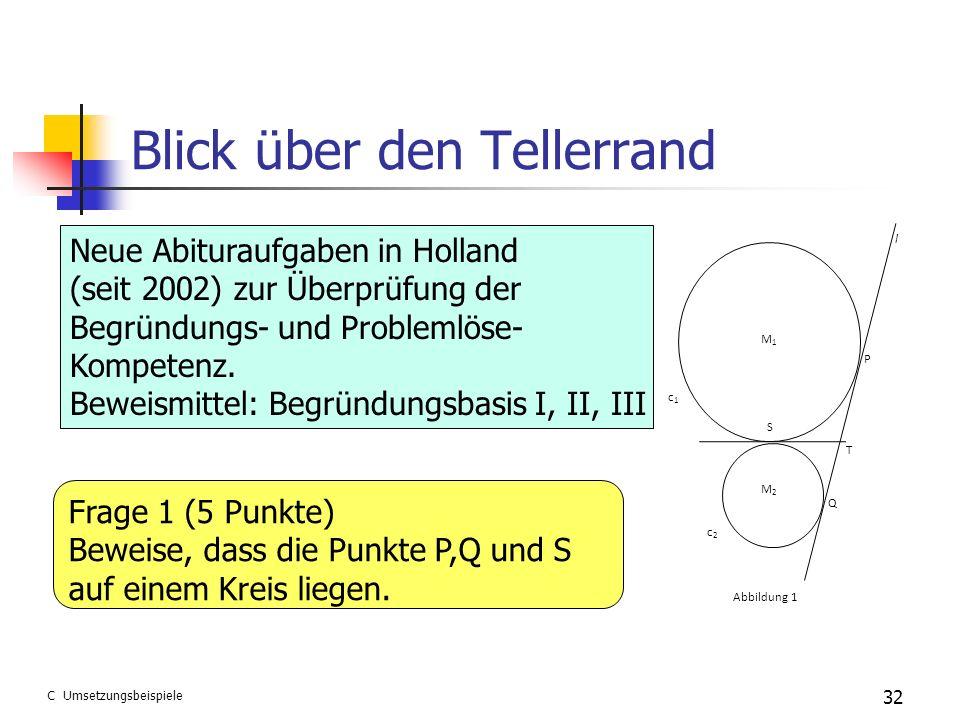 Blick über den Tellerrand 32 M1M1 M2M2 c1c1 c2c2 S P T Q Abbildung 1 l Neue Abituraufgaben in Holland (seit 2002) zur Überprüfung der Begründungs- und