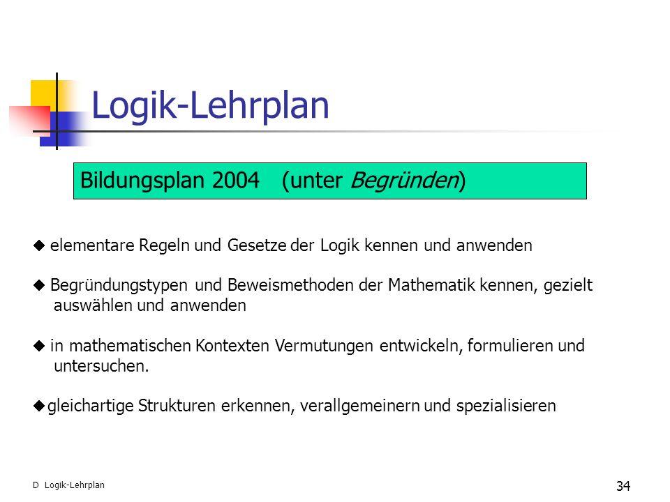 Logik-Lehrplan 34 D Logik-Lehrplan Bildungsplan 2004 (unter Begründen) elementare Regeln und Gesetze der Logik kennen und anwenden Begründungstypen un