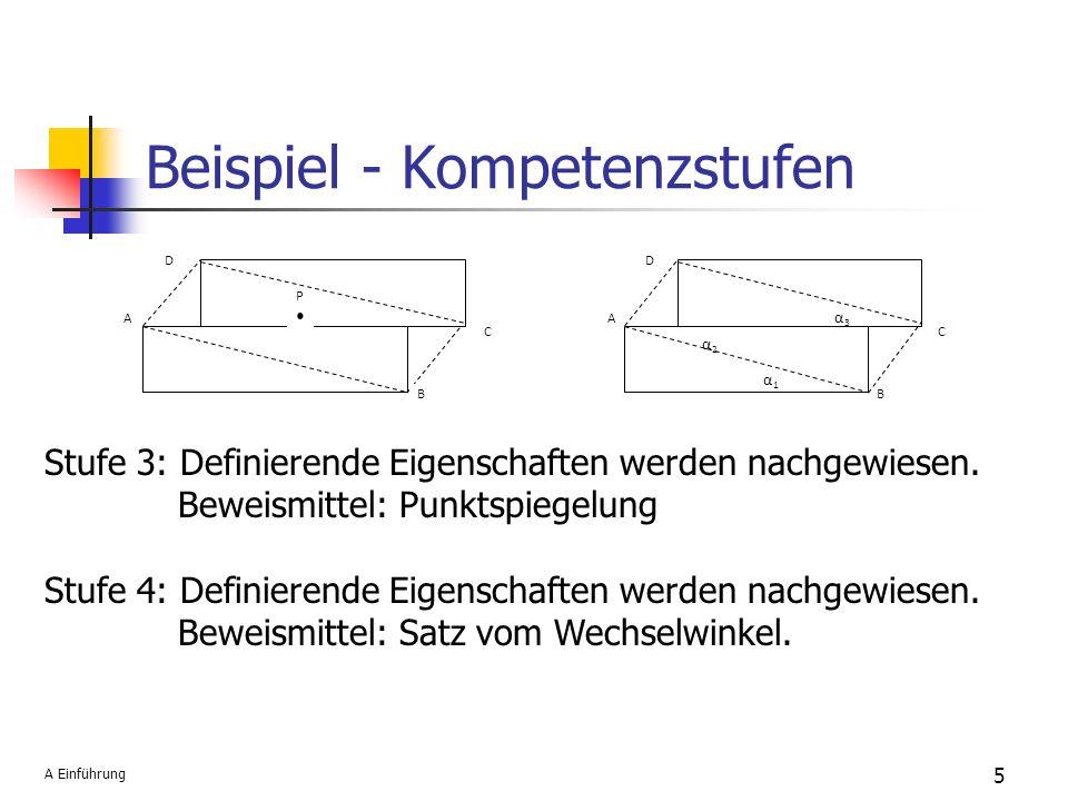 5 P A B C D Stufe 3: Definierende Eigenschaften werden nachgewiesen. Beweismittel: Punktspiegelung Stufe 4: Definierende Eigenschaften werden nachgewi