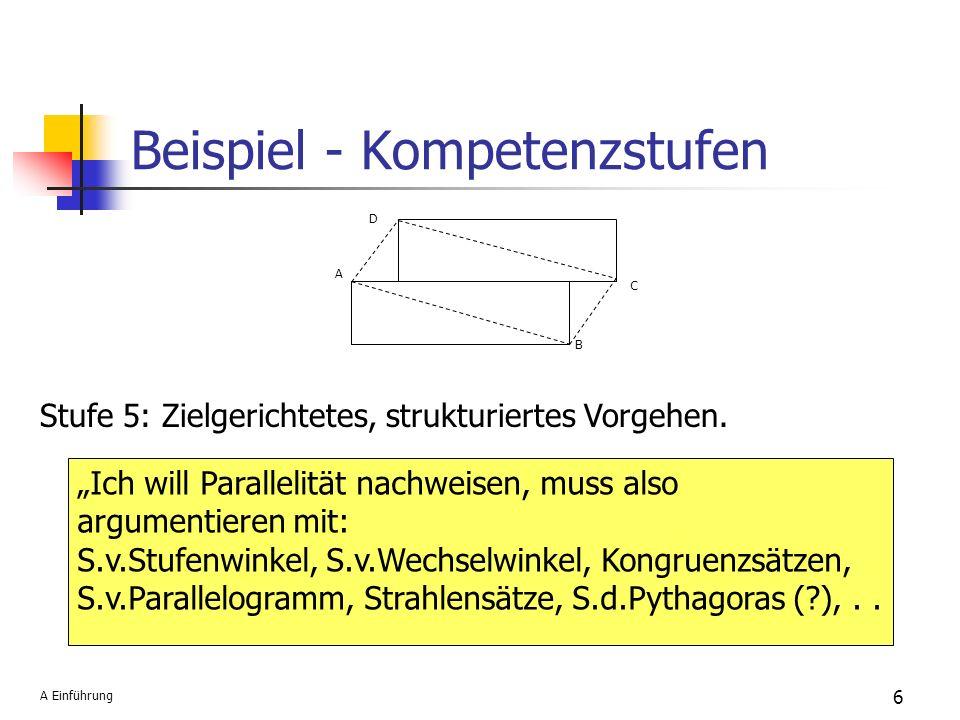 Beispiel - Kompetenzstufen 6 A B C D Stufe 5: Zielgerichtetes, strukturiertes Vorgehen. Ich will Parallelität nachweisen, muss also argumentieren mit: