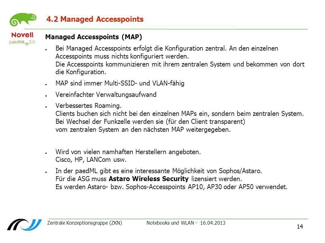 Zentrale Konzeptionsgruppe (ZKN) Notebooks und WLAN - 16.04.2013 14 4.2 Managed Accesspoints Managed Accesspoints (MAP) Bei Managed Accesspoints erfol