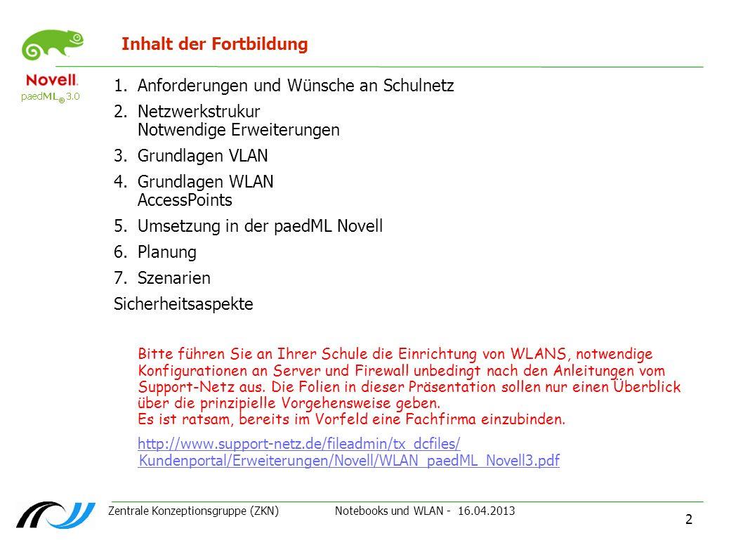 Zentrale Konzeptionsgruppe (ZKN) Notebooks und WLAN - 16.04.2013 2 Inhalt der Fortbildung 1.Anforderungen und Wünsche an Schulnetz 2.Netzwerkstrukur N