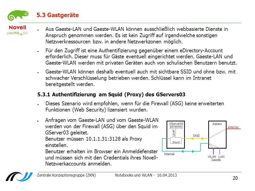 Zentrale Konzeptionsgruppe (ZKN) Notebooks und WLAN - 16.04.2013 20 5.3 Gastgeräte 5.3.1 Authentifizierung am Squid (Proxy) des GServers03 Dieses Szen