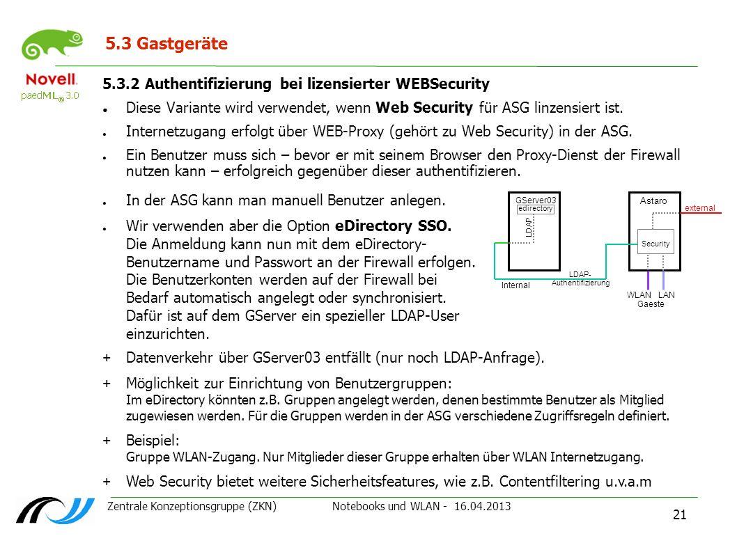 Zentrale Konzeptionsgruppe (ZKN) Notebooks und WLAN - 16.04.2013 21 5.3 Gastgeräte 5.3.2 Authentifizierung bei lizensierter WEBSecurity Diese Variante