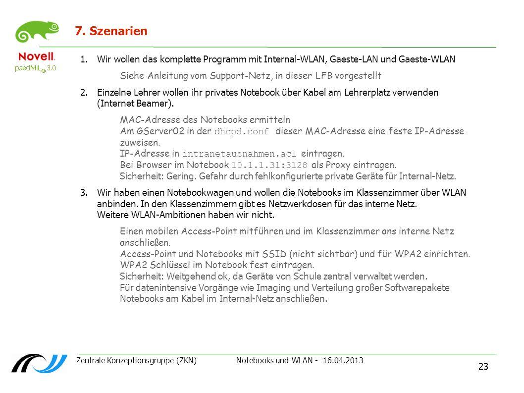 Zentrale Konzeptionsgruppe (ZKN) Notebooks und WLAN - 16.04.2013 23 7. Szenarien 1.Wir wollen das komplette Programm mit Internal-WLAN, Gaeste-LAN und